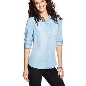 Mossimo Chambray Button Down Shirt Roll Tab Sleeve